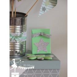 Boite à dragées vert mint étoile et ruban argent