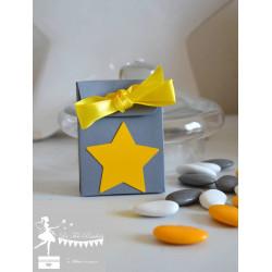 Boite à dragées gris étoile et ruban jaune