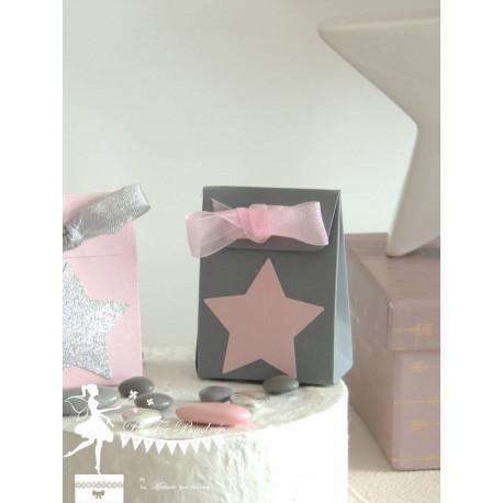 Boite à dragées gris étoile et ruban rose