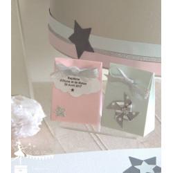 Boite à dragées rose nacré nuage et mini étoile et ruban argent