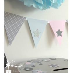 Guirlande de fanions rose bleu pastel et gris étoile