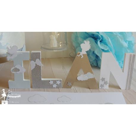 Lettre décorée 12cm ange bleu pastel kraft et blanc