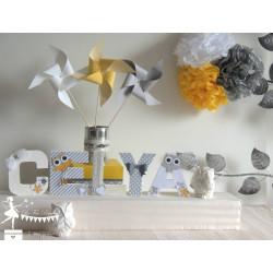 Lettre décorée 12cm hibou gris et blanc PRIX UNITAIRE