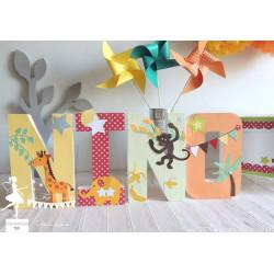 Lettre décorée 20 cm Jungle