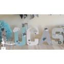 Lettre décorée 20 cm Etoiles & nuages bleu pastel gris & blanc PRIX UNITAIRE