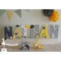 Lettre décorée 20 cm Etoiles jaune gris & blanc PRIX UNITAIRE