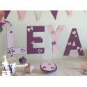 Lettre décorée 20 cm Hibou rose prune & gris PRIX UNITAIRE