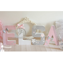 Lettre décorée 20 cm Fée rose pastel gris & blanc PRIX UNITAIRE