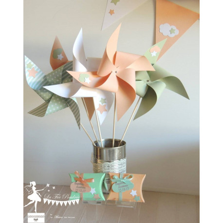 10 Moulins à vent vert mint, pêche et blanc décor étoile