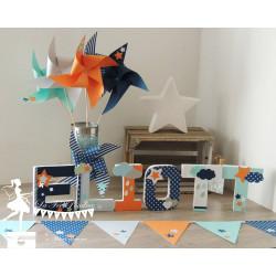 10 Moulins à vent bleu vert mint et orange étoile