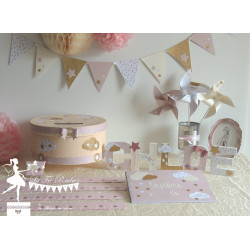 Lettre décorée 12cm étoiles rose ivoire et doré