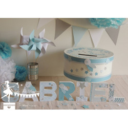 Lettre décorée 12cm étoile & plume bleu gris blanc PRIX UNITAIRE