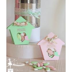 Boite à dragées nichoir vert pastel et rose poudré