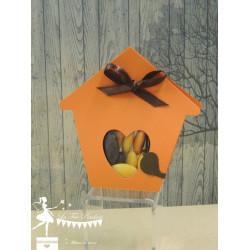 Boite à dragées nichoir orange et chocolat