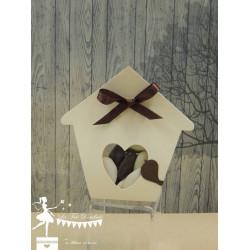 Boite à dragées nichoir ivoire et chocolat