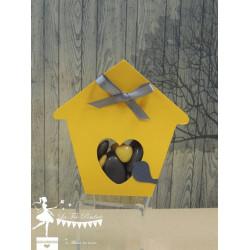 Boite à dragées nichoir jaune et gris