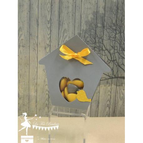 Boite à dragées nichoir gris et jaune