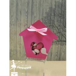 Boite à dragées nichoir fuchsia et rose poudré