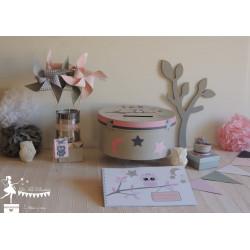 Urne Essentielle thème hibou rose & gris