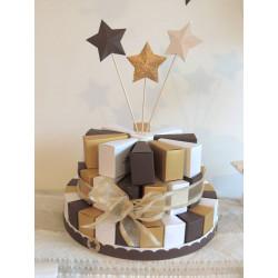 Gateau de dragées 24 parts chocolat, blanc neigeux et doré