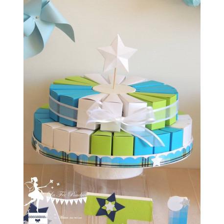 Gateau de dragées 24 parts bleu turquoise, vert anis et blanc