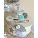 Urne LUXE Plume bleu pastel gris et blanc