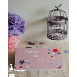 Livre d'or CLASSIQUE Etoile rose violet fuchsia blanc