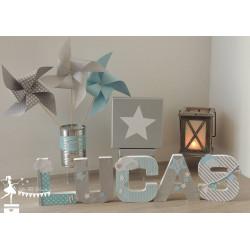 Lettre décorée 12cm étoile et nuage bleu gris et argent PRIX UNITAIRE
