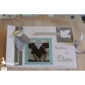 Livre d'or ESSENTIEL Plume et oiseau bleu pastel gris & blanc