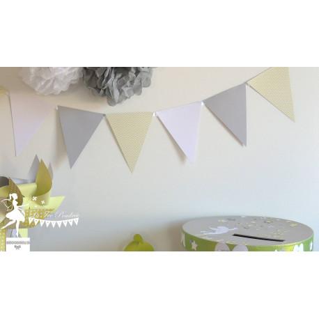 Guirlande de fanions vert anis blanc et gris
