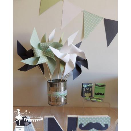 10 Moulins à vent vert mint, gris et blanc