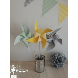 10 Moulins à vent jaune, gris et vert mint
