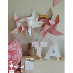 10 Moulins à vent rose blanc et doré