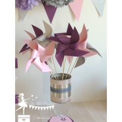 10 Moulins à vent rose, prune, gris et argent
