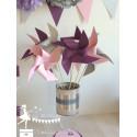 10 Moulins à vent rose prune gris & argent