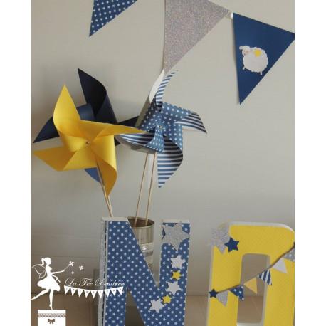 10 Moulins à vent jaune, bleu marine et argent