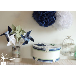 Urne Essentielle Moulin bleu marine, vert mint et blanc