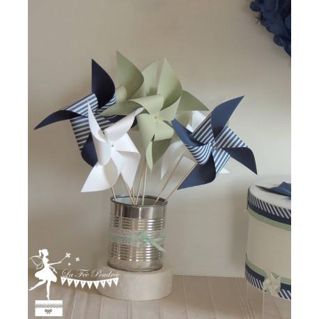 10 Moulins à vent vert mint, marine & blanc