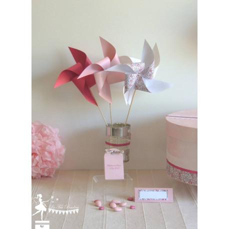 10 Moulins à vent Liberty, fuchsia, rose et blanc