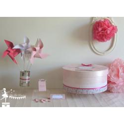 Guirlande de fanions étoile rose poudre ivoire et doré