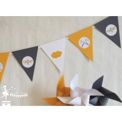 Guirlande de fanions Indien jaune et gris