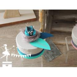 Boite à dents thème hibou turquoise pétrole