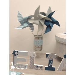 10 Moulins à vent bleu pastel gris pétrole & blanc