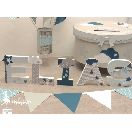 Guirlande de fanions bleu pastel gris pétrole et blanc