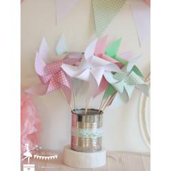 10 Moulins à vent rose vert pastel et blanc