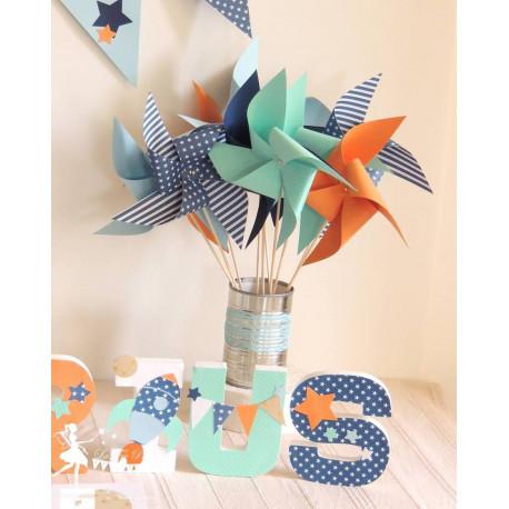 10 Moulins à vent marine, bleu, mint & orange