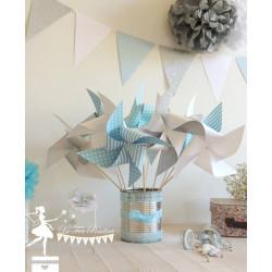 10 Moulins à vent bleu pastel blanc et argent