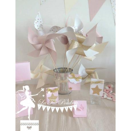 10 Moulins à vent rose pastel ivoire doré & blanc