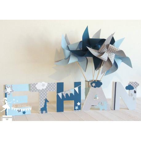 Lettre décorée 12cm Etoile nuage et animaux d'Afrique bleu gris pétrole