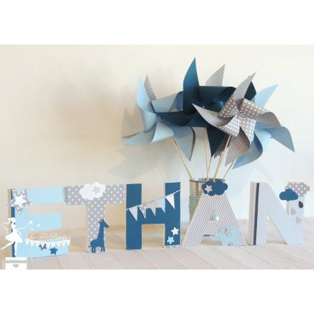 Lettre décorée 12cm Etoile nuage et animaux d'Afrique bleu gris pétrole PRIX UNITAIRE